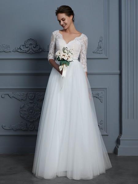 A-Line/Princess Lace Floor-Length V-neck 3/4 Sleeves Tulle Wedding Dresses
