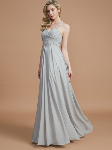 A-Line/Princess Floor-Length Sweetheart Sleeveless Grey Chiffon Bridesmaid Dresses