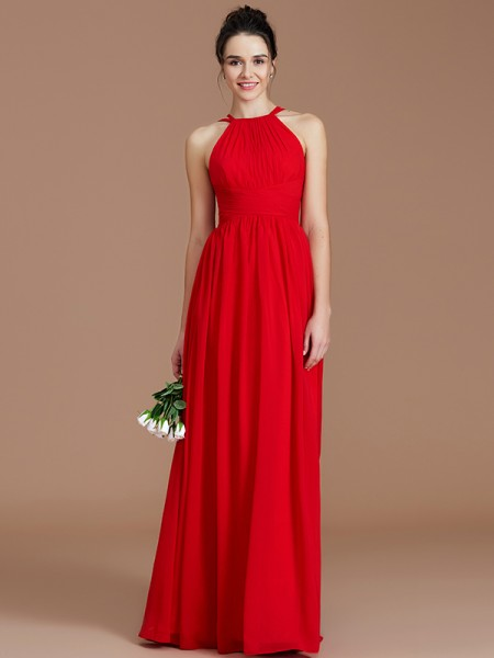 A-Line/Princess Floor-Length Halter Sleeveless Burgundy Chiffon Bridesmaid Dresses