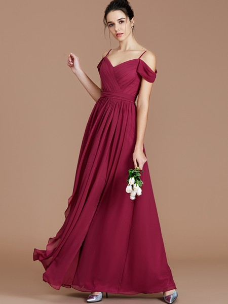 A-Line/Princess Floor-Length Off-the-Shoulder Sleeveless Burgundy Chiffon Bridesmaid Dresses