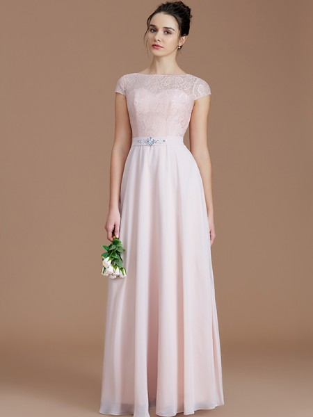 A-Line/Princess Floor-Length Bateau Sleeveless Pearl Pink Chiffon Bridesmaid Dresses