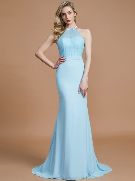 Trumpet/Mermaid Sweep/Brush Train Scoop Sleeveless Light Sky Blue Chiffon Bridesmaid Dresses