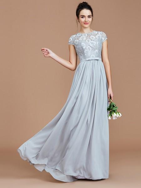A-Line/Princess Floor-Length Jewel Short Sleeves Silver Chiffon Bridesmaid Dresses
