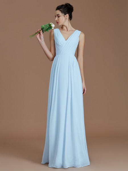 A-Line/Princess Floor-Length V-neck Sleeveless Light Sky Blue Chiffon Bridesmaid Dresses