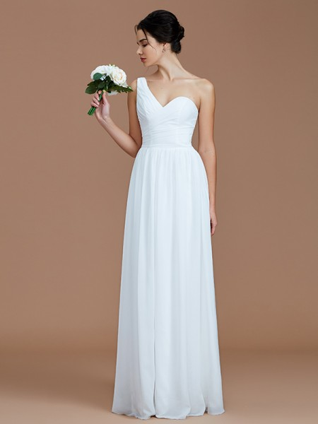 A-Line/Princess Floor-Length One-Shoulder Sleeveless White Chiffon Bridesmaid Dresses