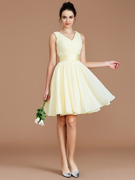 A-Line/Princess Short/Mini V-neck Sleeveless Daffodil Chiffon Bridesmaid Dresses