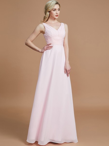 A-Line/Princess Floor-Length V-neck Sleeveless Pink Chiffon Bridesmaid Dresses
