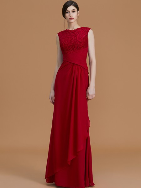 Sheath/Column Floor-Length Jewel Sleeveless Burgundy Chiffon Bridesmaid Dresses