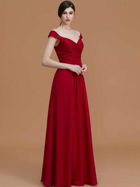 A-Line/Princess Floor-Length V-neck Sleeveless Burgundy Chiffon Bridesmaid Dresses
