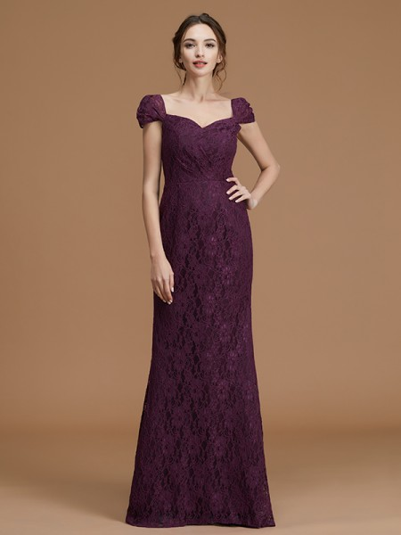 Sheath/Column Lace Short Sleeves Floor-Length Satin Sweetheart Bridesmaid Dresses