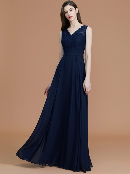 A-Line/Princess Floor-Length V-neck Sleeveless Dark Navy Chiffon Bridesmaid Dresses