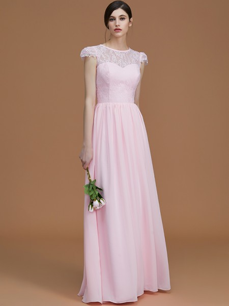 A-Line/Princess Floor-Length Jewel Short Sleeves Pink Chiffon Bridesmaid Dresses