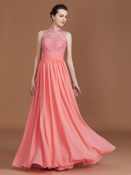 A-Line/Princess Lace Sleeveless Floor-Length Chiffon Jewel Bridesmaid Dresses