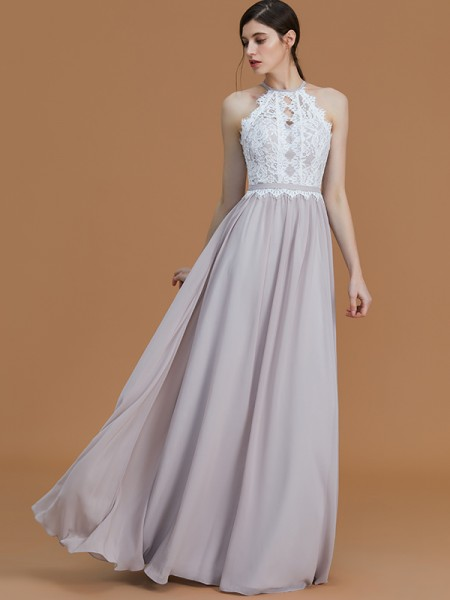 A-Line/Princess Floor-Length Halter Sleeveless Grey Chiffon Bridesmaid Dresses