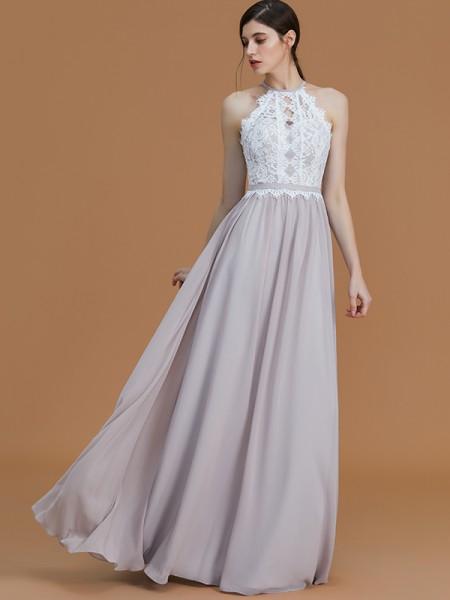 A-Line/Princess Floor-Length Halter Sleeveless Grey Chiffon Bridesmaid Dresses