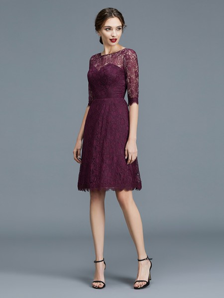 A-Line/Princess Lace 1/2 Sleeves Knee-Length Satin Bateau Bridesmaid Dresses