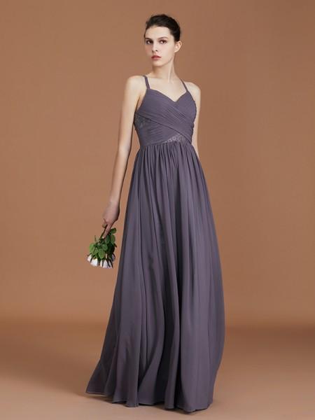 A-Line/Princess Lace Sleeveless Floor-Length Chiffon Spaghetti Straps Bridesmaid Dresses