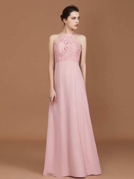 A-Line/Princess Lace Sleeveless Floor-Length Chiffon Halter Bridesmaid Dresses