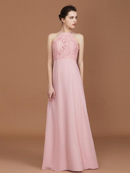 A-Line/Princess Lace Sleeveless Floor-Length Chiffon Halter Bridesmaid Dresses