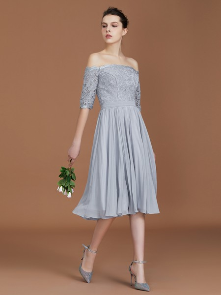 A-Line/Princess Lace Short Sleeves Tea-Length Chiffon Off-the-Shoulder Bridesmaid Dresses
