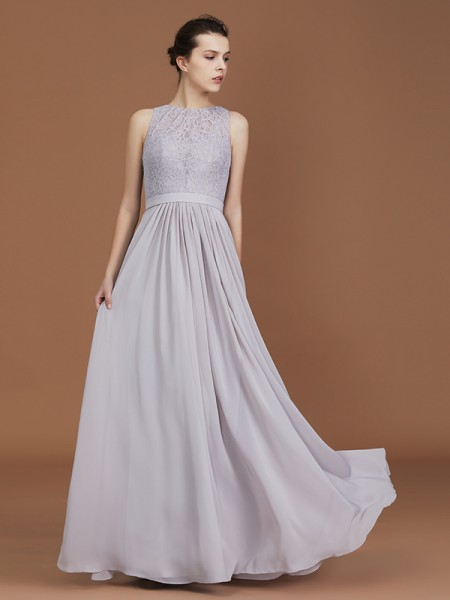 A-Line/Princess Lace Sleeveless Floor-Length Chiffon Scoop Bridesmaid Dresses