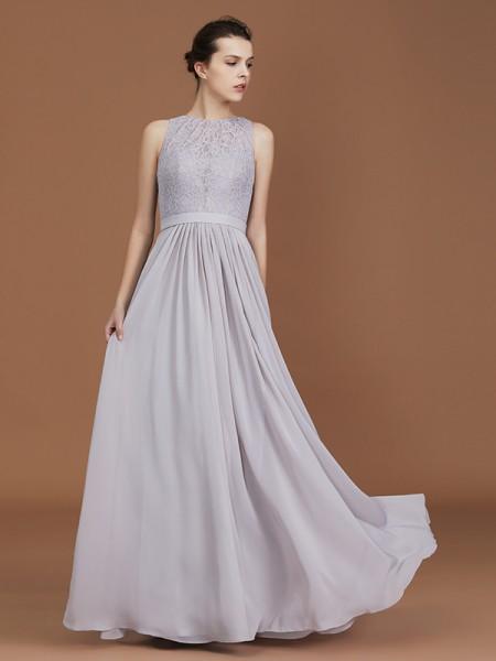 A-Line/Princess Lace Sleeveless Floor-Length Chiffon Scoop Bridesmaid Dresses