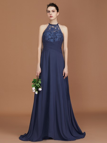 A-Line/Princess Lace Sleeveless Sweep/Brush Train Chiffon Scoop Bridesmaid Dresses