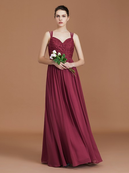 A-Line/Princess Lace Sleeveless Floor-Length Chiffon Sweetheart Bridesmaid Dresses