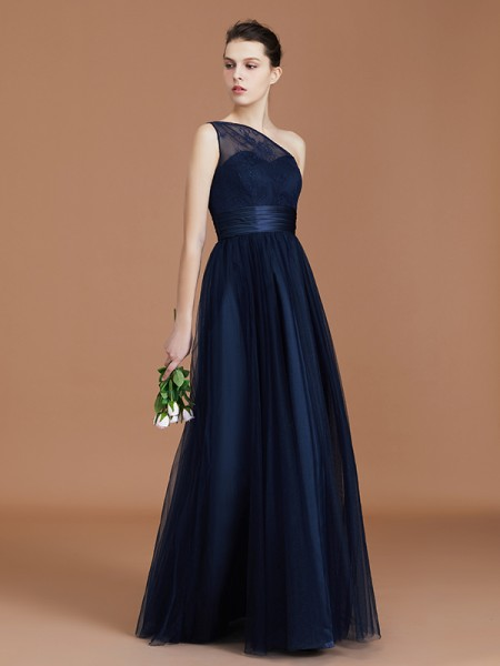A-Line/Princess Lace Sleeveless Floor-Length Chiffon One-Shoulder Bridesmaid Dresses