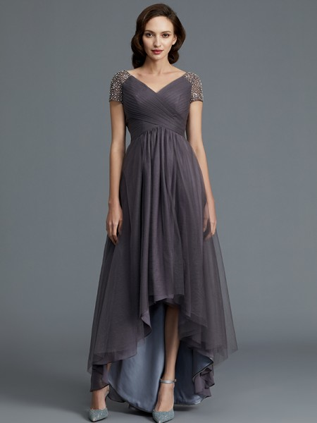 A-Line/Princess Asymmetrical V-neck Short Sleeves Grey Tulle Mother of the Bride Dresses