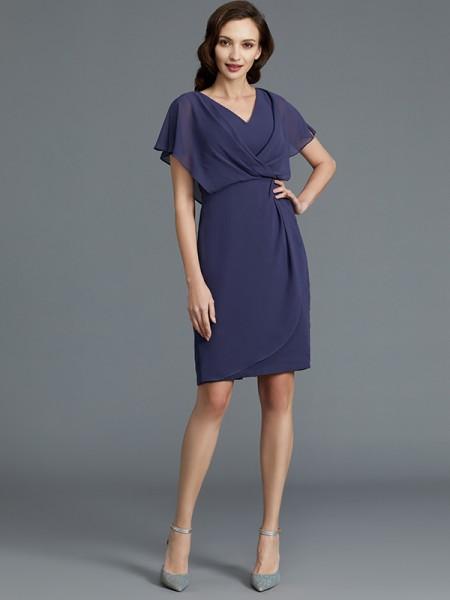 Sheath/Column Knee-Length V-neck Short Sleeves Dark Navy Chiffon Mother of the Bride Dresses