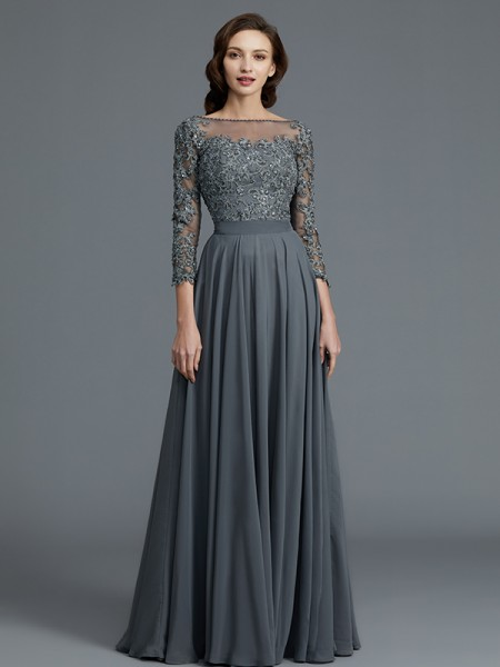 A-Line/Princess Floor-Length Bateau 3/4 Sleeves Grey Chiffon Mother of the Bride Dresses