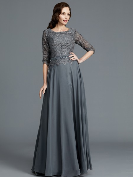 A-Line/Princess Floor-Length Scoop 1/2 Sleeves Grey Chiffon Mother of the Bride Dresses