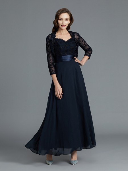 A-Line/Princess Ankle-Length Sweetheart Sleeveless Dark Navy Chiffon Mother of the Bride Dresses