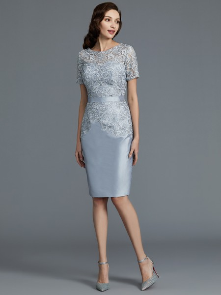 Sheath/Column Knee-Length Scoop Short Sleeves Silver Satin Mother of the Bride Dresses