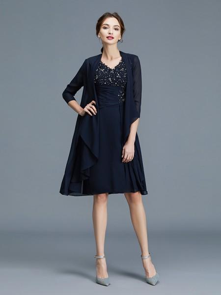 Sheath/Column Knee-Length V-neck Sleeveless Dark Navy Chiffon Mother of the Bride Dresses