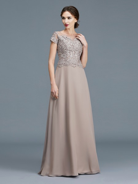 A-Line/Princess Floor-Length Scoop Short Sleeves Grey Chiffon Mother of the Bride Dresses