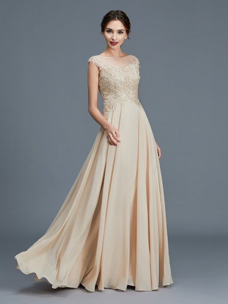 A-Line/Princess Floor-Length Scoop Sleeveless Gold Chiffon Mother of the Bride Dresses