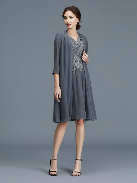 A-Line/Princess Knee-Length V-neck Sleeveless Grey Chiffon Mother of the Bride Dresses