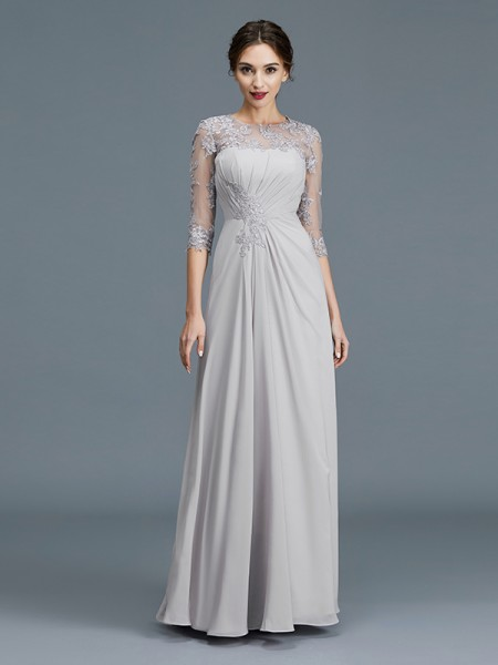 A-Line/Princess Floor-Length Scoop 3/4 Sleeves Silver Chiffon Mother of the Bride Dresses