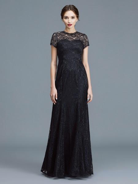 Trumpet/Mermaid Floor-Length Scoop Short Sleeves Black Lace Mother of the Bride Dresses