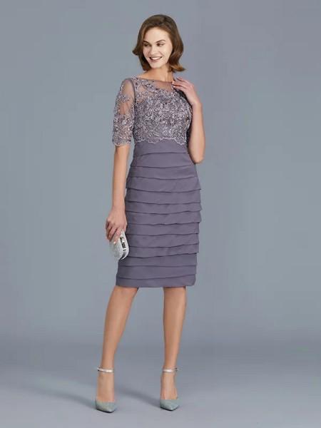 Sheath/Column Chiffon Scoop Knee-Length Ruffles 1/2 Sleeves Mother of the Bride Dresses