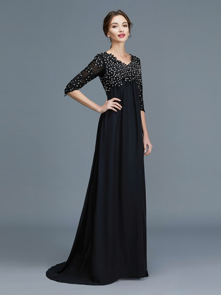 A-Line/Princess Floor-Length V-neck 1/2 Sleeves Black Chiffon Mother of the Bride Dresses