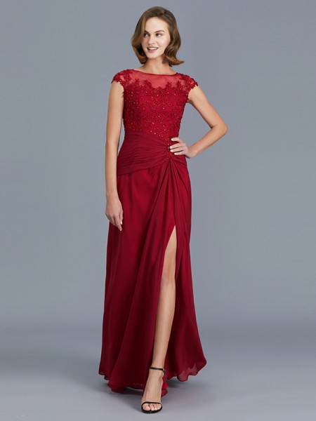 Sheath/Column Chiffon Scoop Floor-Length Ruffles Sleeveless Mother of the Bride Dresses