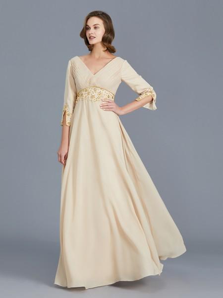 A-Line/Princess Chiffon V-neck Floor-Length Ruffles Sleeveless Mother of the Bride Dresses
