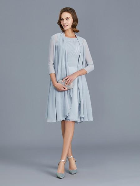 A-Line/Princess Chiffon Scoop Knee-Length Ruffles Sleeveless Mother of the Bride Dresses