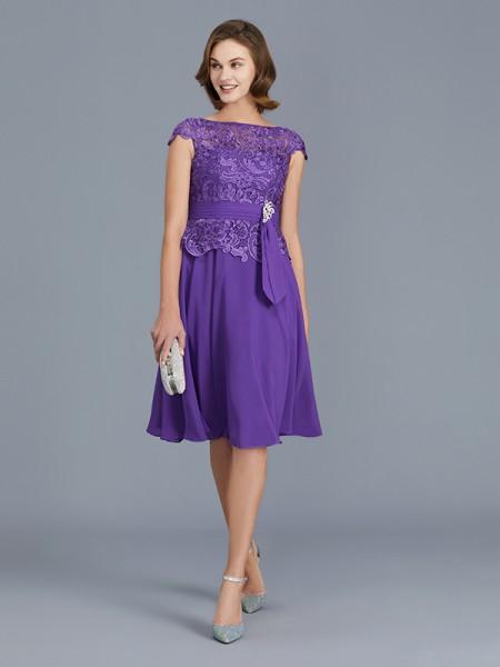 A-Line/Princess Chiffon Bateau Knee-Length Beading Sleeveless Mother of the Bride Dresses