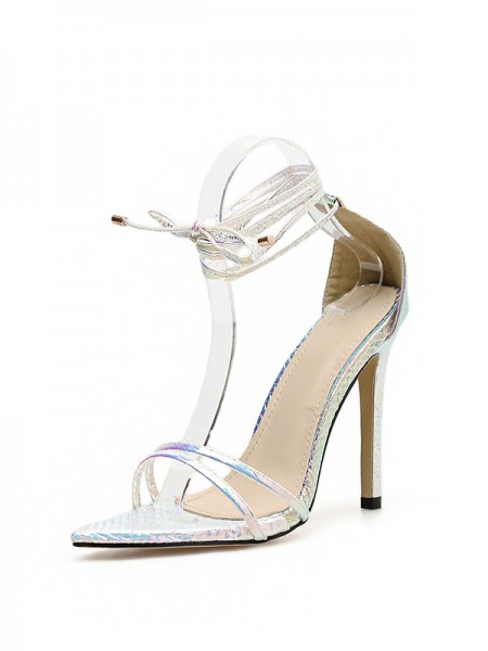 Ladies PU Peep Toe With Lace Up Stiletto Heel Sandals