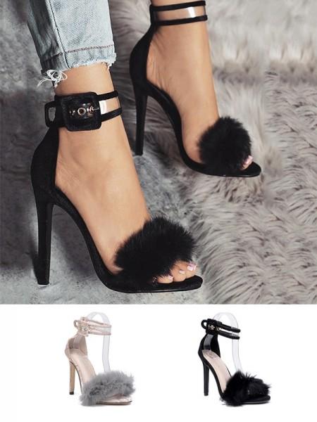 Ladies Suede With Buckle Peep Toe Stiletto Heel Sandals
