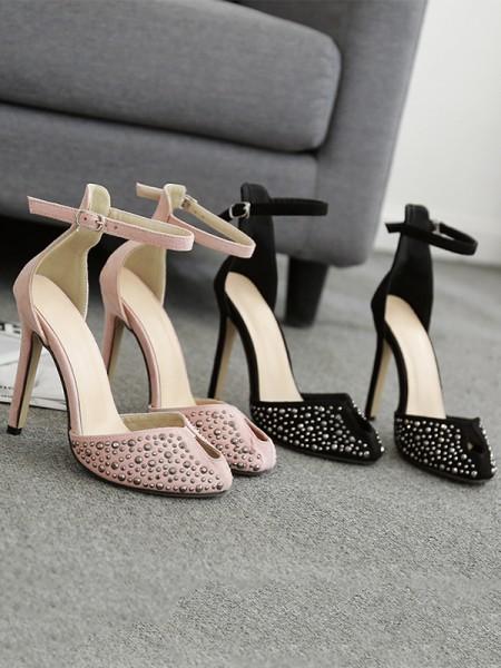 Ladies Closed Toe Rhinestone Stiletto Heel Sandals